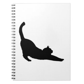Stretching Black Cat Silhouette Notebook