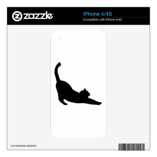 Stretching Black Cat Silhouette Skin For iPhone 4