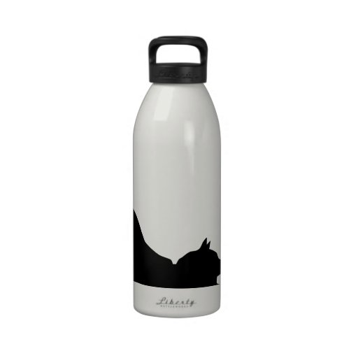 Stretching Black Cat Silhouette Reusable Water Bottle