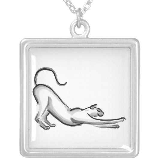 Stretching Cat Brush Painting Silver Plated Necklace