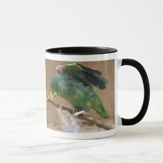 Stretching Double Yellow Headed Amazon Parrot Mug