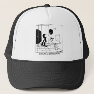 Stretching Exercises in a Restroom Trucker Hat