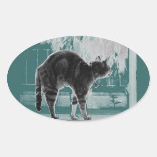 Stretching Indigo B+W Oval Sticker