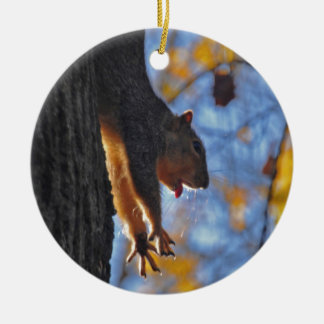 Stretching Squirrel Ceramic Ornament