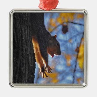 Stretching Squirrel Metal Ornament
