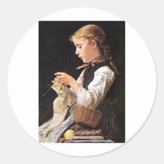 Strickendes Mädchen Knitting Girl Classic Round Sticker