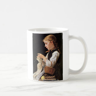 Strickendes Mädchen Knitting Girl Coffee Mug
