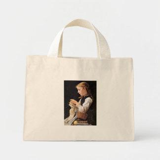 Strickendes Mädchen Knitting Girl Mini Tote Bag