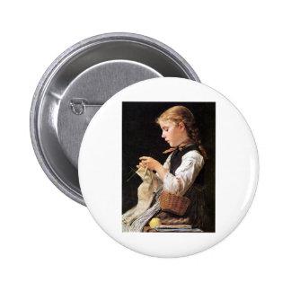 Strickendes Mädchen Knitting Girl Pinback Button