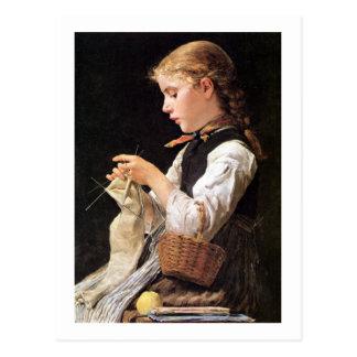 Strickendes Mädchen Knitting Girl Postcard