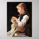 Strickendes Mädchen Knitting Girl Print