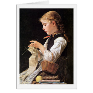 Strickendes Mädchen Knitting Girl Stationery Note Card