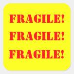 Strickers cuadrado frágil calcomanía cuadradas personalizada