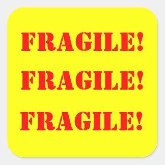 Strickers cuadrado frágil calcomania cuadradas personalizadas