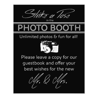 Strike a Pose Photo Booth Sign in Black