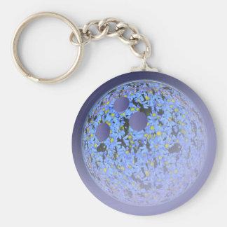 Strike ball blue basic round button keychain