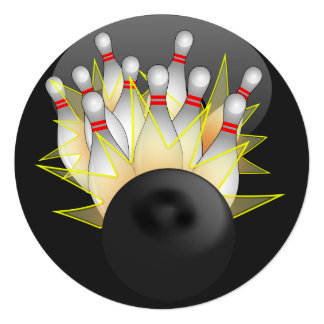 STRIKE! Bowling Ball And Pins Card