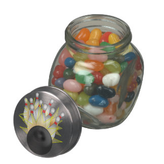 STRIKE! Bowling Ball And Pins Glass Candy Jar