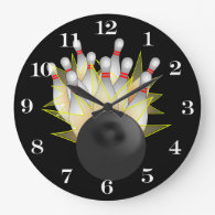 STRIKE! Bowling Ball And Pins Large Clock
