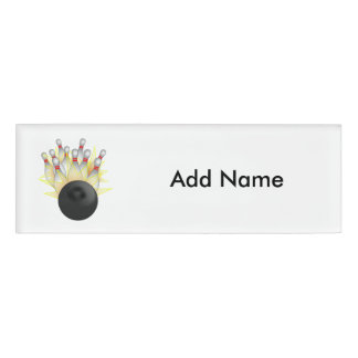 STRIKE! Bowling Ball And Pins Name Tag