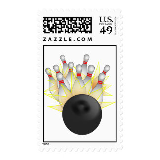 STRIKE! Bowling Ball And Pins Postage Stamp