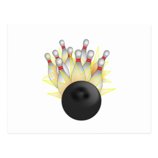 STRIKE! Bowling Ball And Pins Postcard
