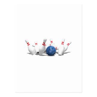 Strike!  Bowling Ball & Pins: Postcard