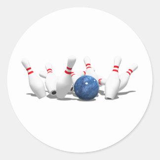 Strike!  Bowling Ball & Pins: Round Sticker