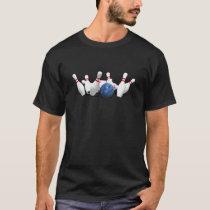 Strike!  Bowling Ball & Pins: T-Shirt