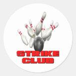 Strike Club Bowling Team Shirt Round Sticker
