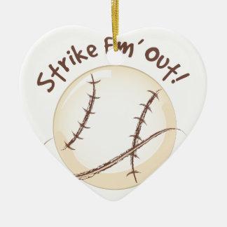 Strike Em Out Ceramic Ornament