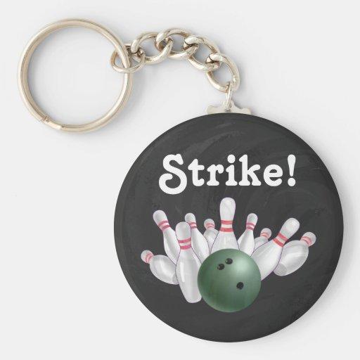 Strike! Green Bowling Ball with Pins Key Chain