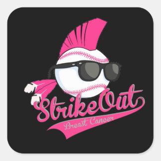 """Strike Out"" Breast Cancer Grey Sticker"