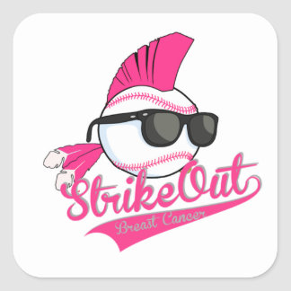 """""""Strike Out"""" Breast Cancer White Sticker"""