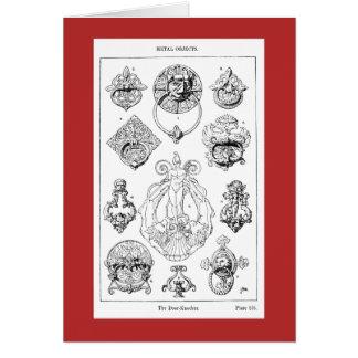 Striking 1900 illustration of varied door knockers card