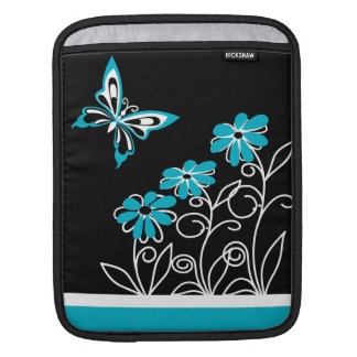 Striking Aqua Blue Butterfly and Flowers Sleeves For iPads