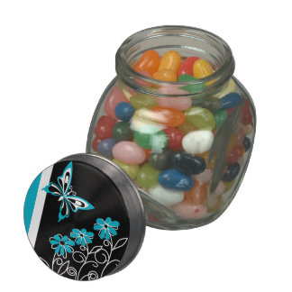 Striking Aqua Blue Butterfly and Flowers Jelly Belly Candy Jar