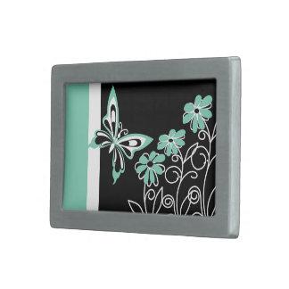 Striking Aqua Green Butterfly and Flowers Rectangular Belt Buckles