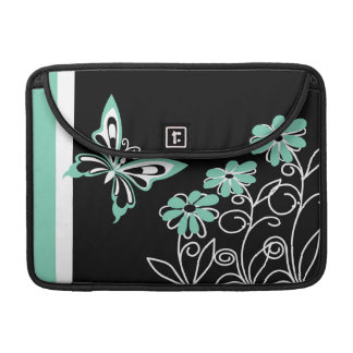 Striking Aqua Green Butterfly and Flowers Sleeve For MacBooks