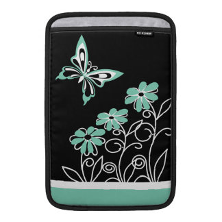 Striking Aqua Green Butterfly and Flowers Sleeves For MacBook Air