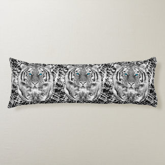 Striking Black And White Blue Eyes Tiger Body Pillow