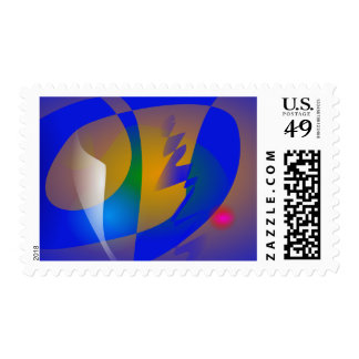 Striking Blue Abstract Art Stamps