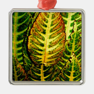Striking Color Autumn Leaves Metal Ornament