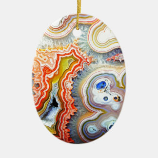 Striking Colourful Agate Gemstone Ceramic Ornament