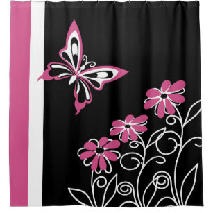 Striking Cranberry Pink Butterfly And Flowers Shower Curtain