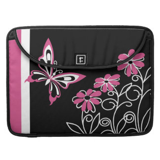 Striking Cranberry Pink Butterfly and Flowers Sleeve For MacBook Pro
