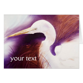 Striking Great Egret Watercolor Portrait Greeting Card