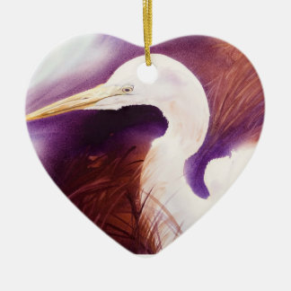 Striking Great Egret Watercolor Portrait Ceramic Ornament