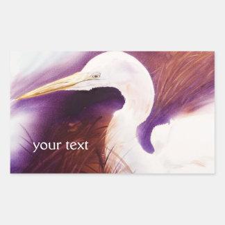 Striking Great Egret Watercolor Portrait Rectangular Sticker