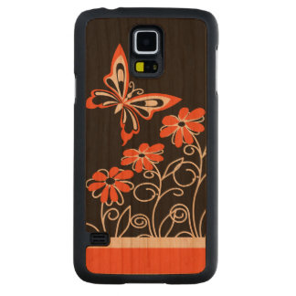 Striking Orange Butterfly and Flowers on Black Carved® Cherry Galaxy S5 Case